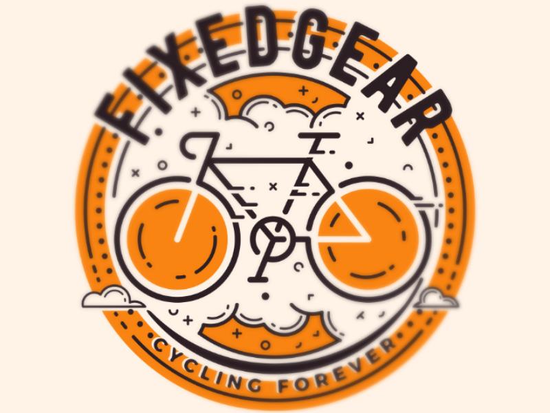 FIXEDGEAR emblem badge fixedgear fixie bicycle bike illustration vector