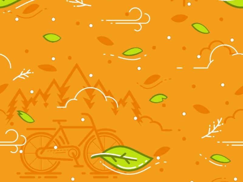 Bicycle, Leaf & Wind Pattern pattern wind leaf illustration vector orange bicycle bike society6