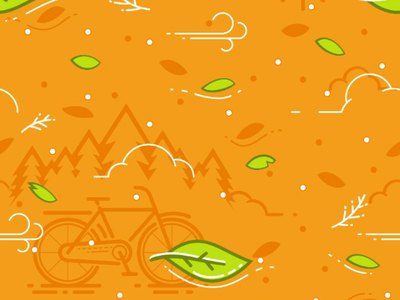 Bicycle, Leaf & Wind Pattern pattern wind leaf illustration vector orange bicycle bike society6