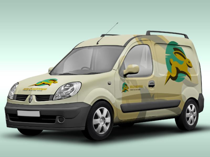 Rabbit Car freebie psd eps ai illustration vector bunny rabbit template logo free