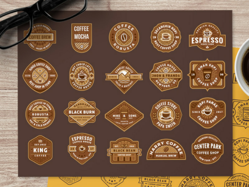 Free Coffee Shop Logo (part 1) vector shop coffee template badge logo free freebie