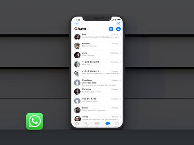 Whatsapp iPhoneX iOS11 ux ui chat apple mobileapp clean redesign ios11 iphonex whatsapp