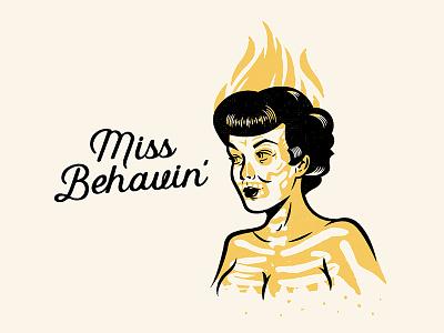 Miss Behavin' halloween horror rockabilly pinup girl illustration drawing