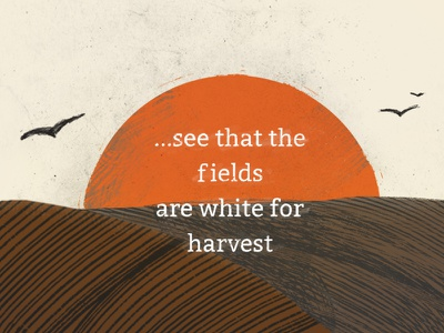 Harvest farm rake illustration birds field harvest design church restoration gospel john
