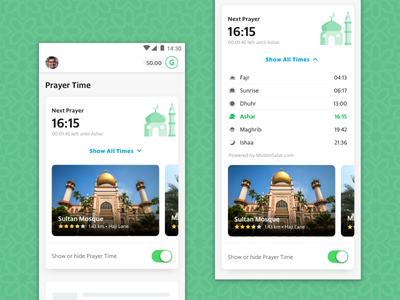 GrabDaily - Prayer Time Widget homescreen muslim mosque prayer time android ios app