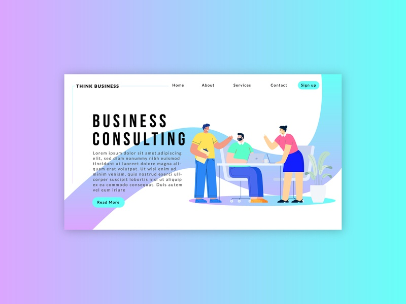 Landing page-business consulting landing illustrator business website home page typogaphy branding minimal website minimalist character design illustration website concept uidesign ui  ux website design landing page