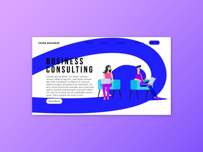 FREE landing page with business character-freebie