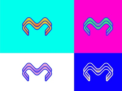 Lettermark M Color Variations 2d logo designer graphic designer minimalist logo modern logotype typography letters minimal identity branding brand logo monogram lettermark m letters m logo letter m logo m letter m