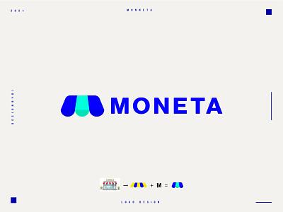 MONETA logo design - Lettermark M store logo logo designer graphic designer minimalist logo modern logotype typography letters minimal identity branding brand logo monogram lettermark m letters m logo letter m logo m letter m