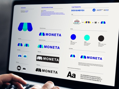 MONETA Brand identity Guideline - Lettermark M Logo logos adobe graphicdesign alphabet icon 2d lineart logotype typography letters minimal brand identity logo monogram lettermark