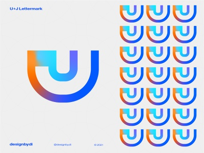 U+J Lettermark Logo best logo design colorful logo lettermark monogram logo brand identity minimal letters typography j logo logotype modern logo icon alphabet graphicdesign logos identity u u lettermark u logo