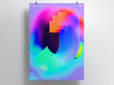 Lettermark J Poster letter j j letters alphabet 3d text graphicdesign minimal fluid color logo logo prints colorful typography poster typography lettermark posters poster