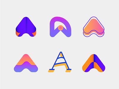 A lettermarks / logos collection V.02 brand design monogram branding modern logos colorfull logotype 2d alphabet icon graphicdesign identity minimal logo collection brand identity a logo logos logo a lettermarks lettermark a