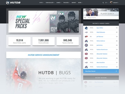 HUTDB | NHL Game Resource web design advanced game video game hut nhl