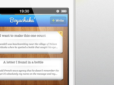 Boyachaka for iOS6 ios6 app design iphone ios apple blue wood tabbar navigation write author