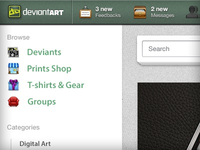 DeviantArt Redesign Concept redesign concept alpha beta deviant art deviantart green white gray modern ui fabric texture clean icons