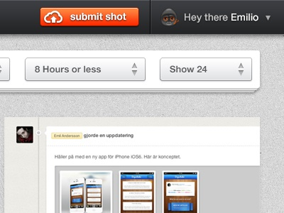 Sneak Peek - New Project submit button clean orange black white stacked shots