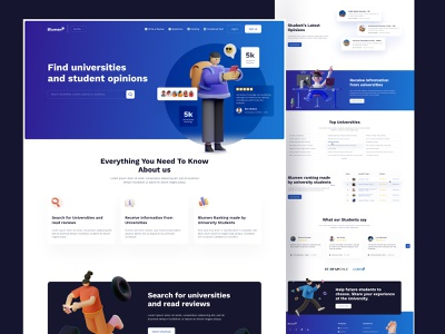 Website Design for Bluemen feedback ratings review seducation campu university college school studies learn website web web design clean page landing desktop