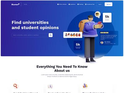 Website Design for Bluemen feedback ratings review seducation campu university college school studies learn website web web design clean page landing desktop