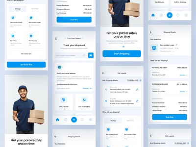 Parcel Delivery App documents product courier app delivery app app logistics pickup map track tracking shipping box parcel delivery partner courier