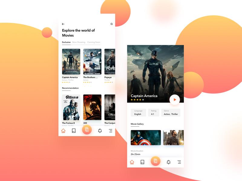Movie App x ux ticket ui movie mobile iphone design concept cinema app
