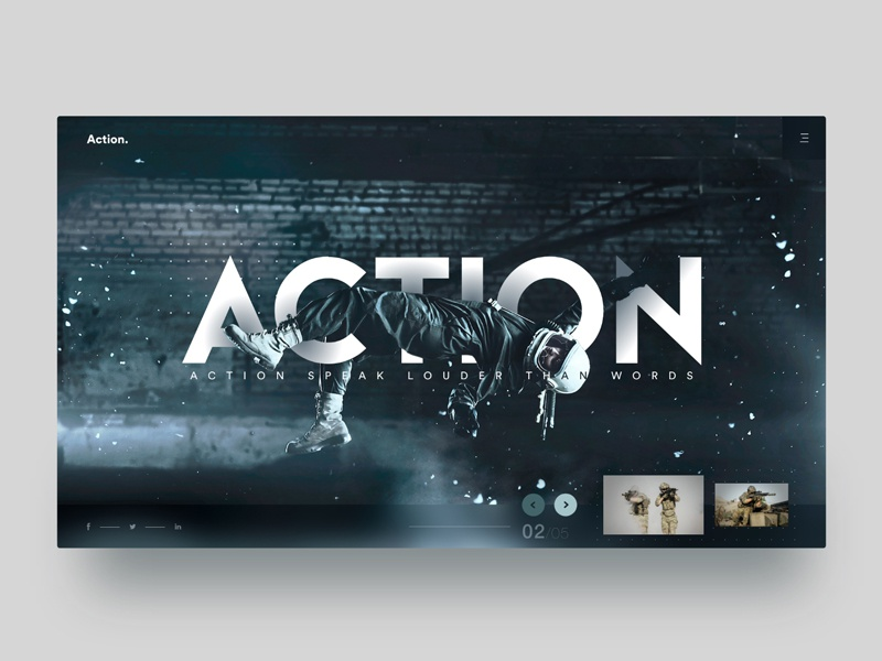 Action - Landing Page modern trending action home page landing page typography web dribbble ux ui design