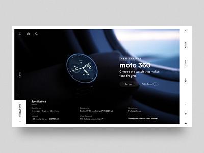 Watch - Landing Page creative minimal wristwatch wristband web ui  ux ui moto360 moto mobile landing page homepage dribbble design