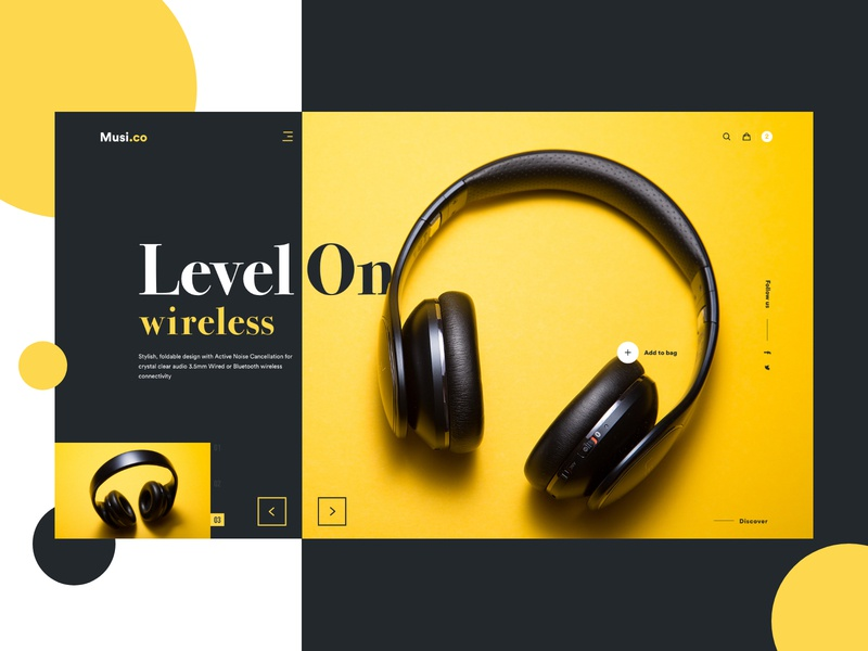 Headphone - Landing Page landing landing page web dribbble ui ux design typography colors colour color abhishek product ecommerce webshop store headphones headphone website homepage