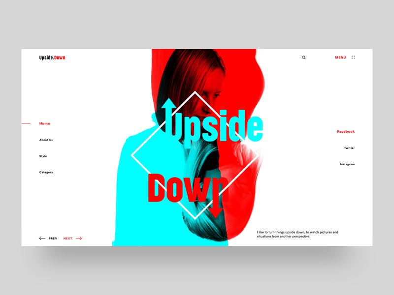 Upside Down - Minimal Landing Page invite light color blue redo double exposure down upside upside down home page typography landing landing page ux web dribbble ui design