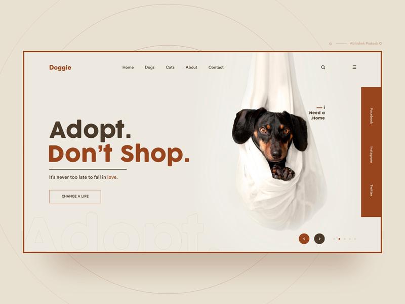 Adopt. Don't Shop. fun shop petshop animal adopt color light cat dog pets branding home page typography landing landing page ux web dribbble ui design