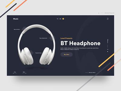 BT Headphone headphones earphone wireless dark app sound waves sound music headphone dark color home page invite typography landing landing page ux web dribbble ui design