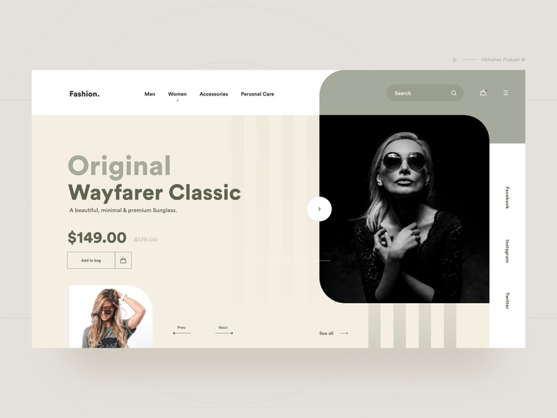 Modern Fashion. template layout modern sunglass goggles sunglasses fashion ecommence branding color home page invite typography landing landing page ux web dribbble ui design