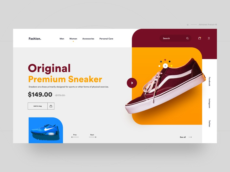 E-Commerce Web Concept shopping app buy sell online store onlineshopping homepage shoe onlineshop shop ecommerce color invite typography landing landing page ux web dribbble ui design