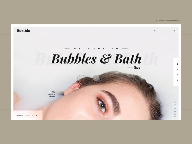 Bubbles & Spa bath skincare healthcare care fitness body shop beauty beauty center spa app color home page typography landing landing page ux web dribbble ui design