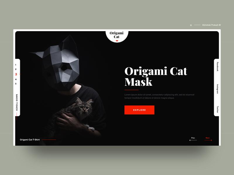 Origami Cat Mask advanced cat black dark color conceptual creative modern mask invitation invite home page landing typography landing page web ux ui dribbble design