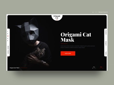 Origami Cat Mask advanced cat black dark color conceptual creative modern mask invitation invite home page landing typography landing page web ux ui dribbble design