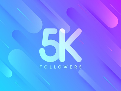 5k Fans thanks thankyou simple shapes minimalistic friends minimal typogaphy illustration color clean colorful follower 5k followers 5000 5k followers fans dribbble design