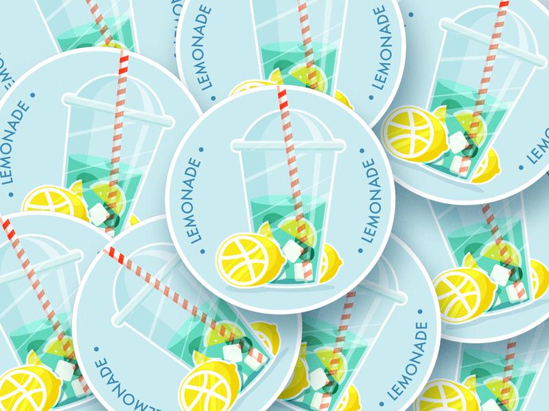 lemonade 🍸🍋🍹 drink summer lemon mojito lemonade wings stickermule patch minimal mark logotype logo lineart linear illustration design crown creative coaster branding