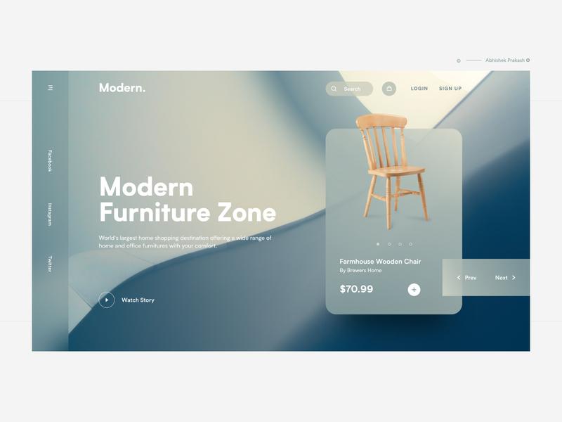 Modern Furniture online shop online chair wooden chair wooden chair furniture app furniture shop furniture branding app home page color typography landing landing page web ux dribbble ui design