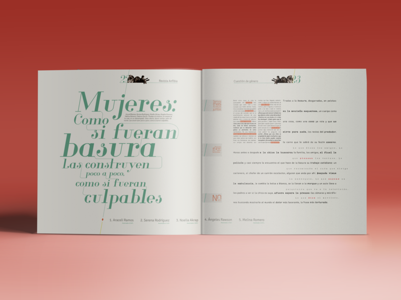 Editorial design anfibia anfibia 8m feminismo feminism editorial layout grid type typography tipografía design diseño editorial editorial design