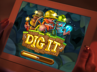 Dig It Loading Page matching landing app mascot slot loader vector mobile gameart mine cute game