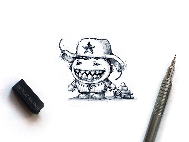 Tiny Monster tiny game mascot winter sled snowball smile star pencil moleskine sketch snow