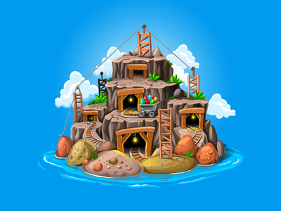 Miners Island social clouds lamp train tiny environment gameart matching mobile casual vector island