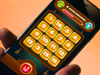 Puzzle Game Ui game art wood ui ropes game ui slot matching mobile button scramble vector casual puzzle