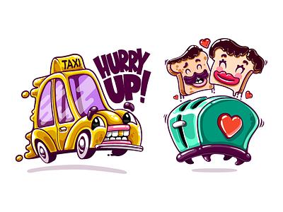 The Literals - Kik Stickers ui ux design game cartoon character drawing mascot identity illustrations kik taxi love toaster messenger stickers kik stickers