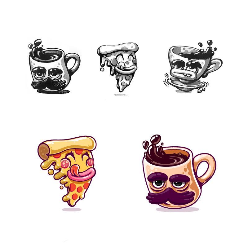 Pizza   coffee  kik messenger stickers