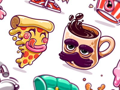 Kik Messenger Stickers game art funky style identity illustrations branding ui design sticker pack cartoon character mascot design sleepy monday app stickers coffee cup pizza slice