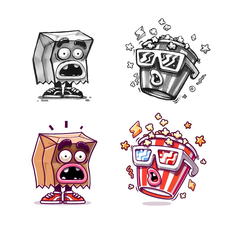 Paper bag   popcorn cup kik messenger stickers