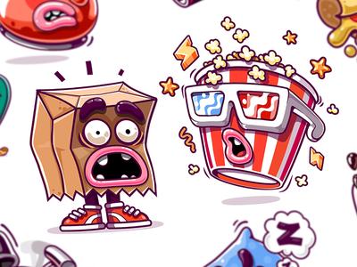 Kik Messenger Stickers mascot art character design cinema app stickers wonder emotion vans surprise 3d glasses paper bag fright pop corn emotions