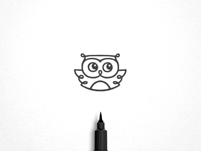 Owl At Night  curly line tiny cute style moon identity line art metaphor conception logo sketching bird logo owl at night